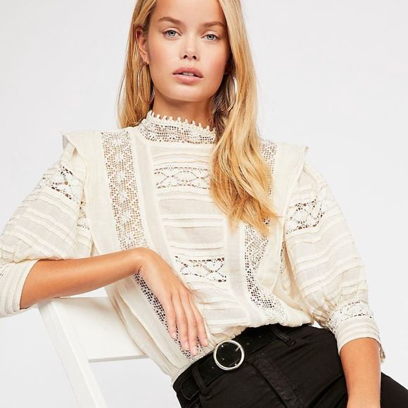 NEW FREE PEOPLE Sz S FP ONE SYDNEY HIGH NECK CROCHET SMOCKED BLOUSE TOP IVORY